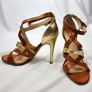 Guess Shaday Strappy Heels Brown & Gold (8)